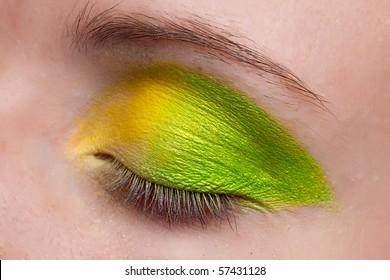 Woman eye. Closeup. Make up.