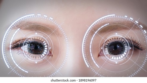 Woman eye with futuristic vision system - Concept of control and security in the accesses technology