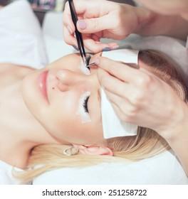 Woman Eye with Long Eyelashes. Eyelash Extension.