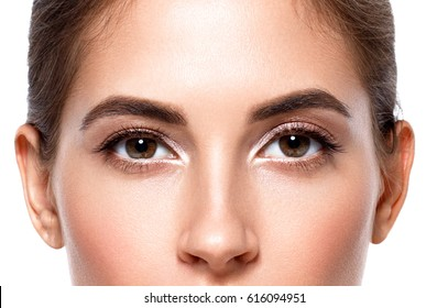 Woman eyes. Beautiful woman skin care healthy concept beauty portrait isolated on white