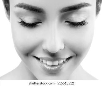 Woman eyes closeup black and white