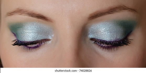 Woman eyes with long eyelashes and makeup