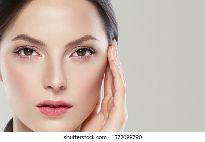Woman face beauty concept color background healthy skin