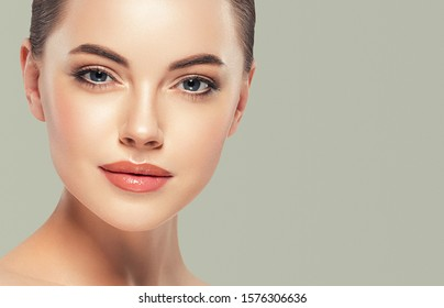 Woman face beauty healthy skin natural makeup
