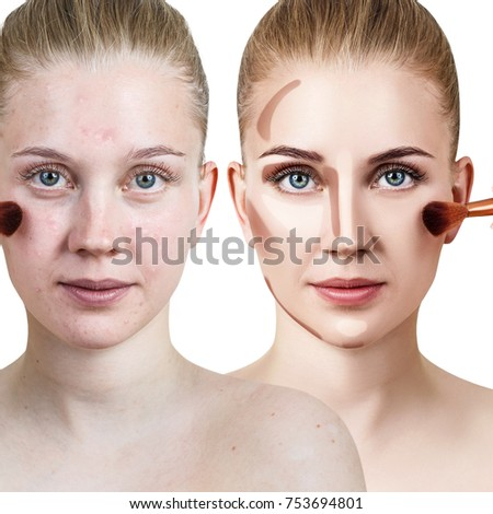 woman face before after professional makeup stock photo edit now