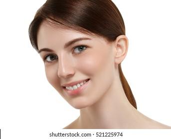 Woman face closeup portrait beautiful beauty model girl