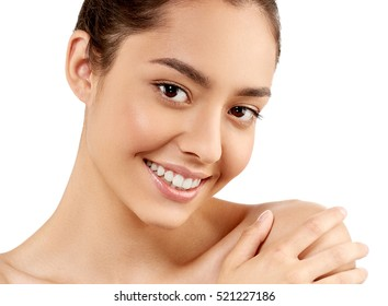 Woman face closeup portrait beautiful beauty model girl with beautiful smile teeth