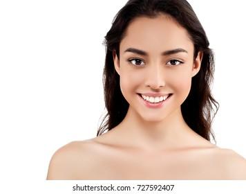Woman face closeup portrait beautiful beauty model girl with beautiful smile teeth