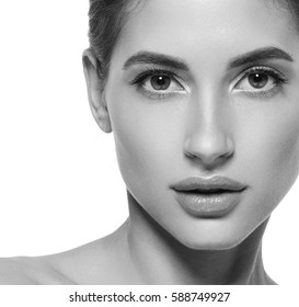 Woman face close-up young beautiful healthy skin portrait black and white