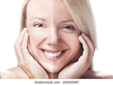 Woman face divided - before retouch and after retouch