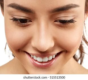 Woman face eyes closeup