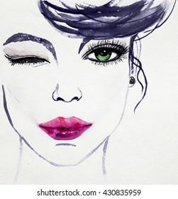 watercolor woman images stock photos  vectors  shutterstock