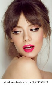 Woman face with hair motion pink lipstick, smile