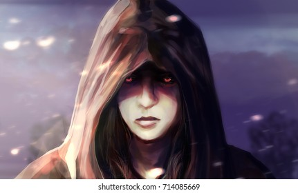 Woman face in hood illustration. Illustration of a fantasy woman face in hood with glowing eyes and blue landscape background.