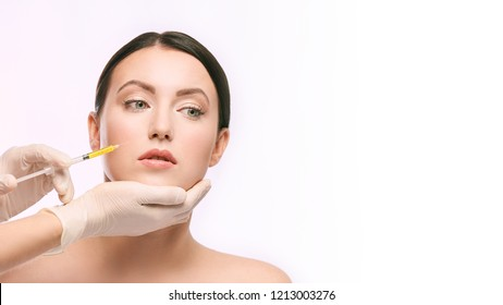 woman face injection. salon cosmetology procedure. skin medical care.  dermatology treatment. anti aging wrinkle lifting.