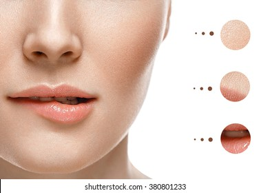 woman face lips and nose with problem and clear skin, youth  make up concept