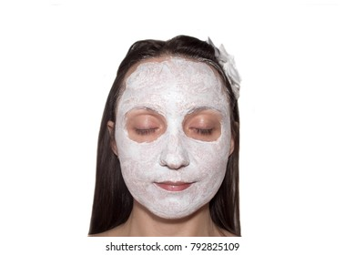 woman in face mask on an isolated white background