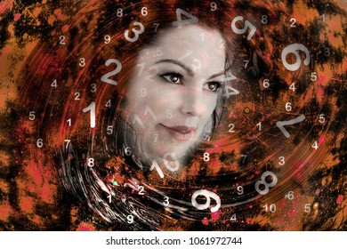 Woman face and numerology world