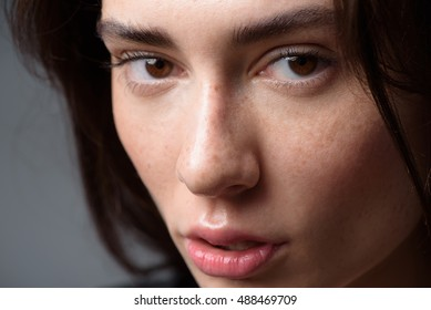 woman face on light grey background