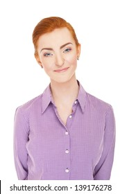 Woman face over white background red hair