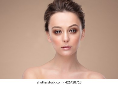Woman face Portrait. Beautiful Spa model Girl with Perfect Fresh Clean Skin.