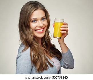woman face portrait with orange juice glass. smiling girl with healthy teeth.