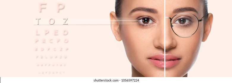 woman face, present before and after laser vision correction. Female face with glasses and without glasses, on background virtual holographic eye chart. vision correction technology