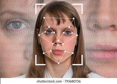 Woman face recognition - biometric verification concept