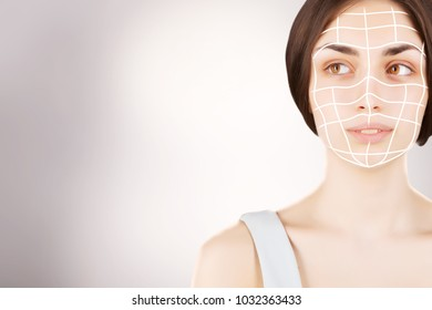 woman face with surgery marks on face