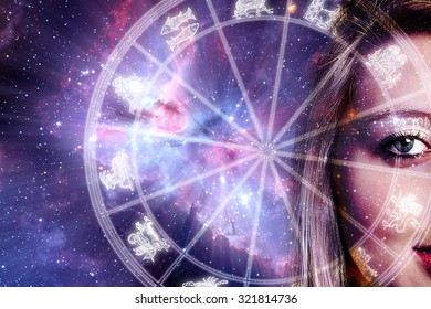 woman face and zodiac chart - background image provided by NASA