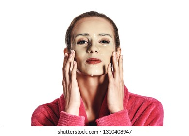 Woman with facial mask on sheet. moisturizing, nourishing and smoothing.