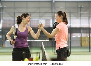 Woman fair play handshake before match