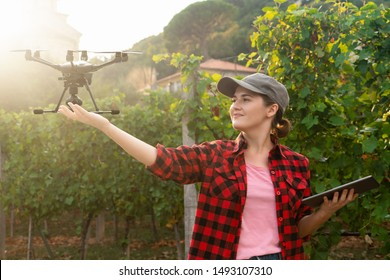 Woman farmer controls drone with a tablet. Smart farming and agriculture 4.0