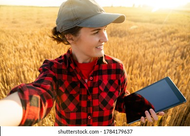 Woman farmer with digital tablet makes selfie on the background of a wheat field.
