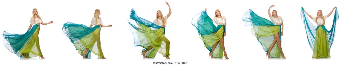 Woman in fashion concept in green dress on white