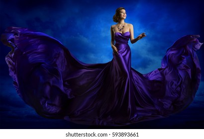 Woman Fashion Dress, Blue Art Gown Flying Silk Fabric, Elegant Model in Waving Purple Cloth