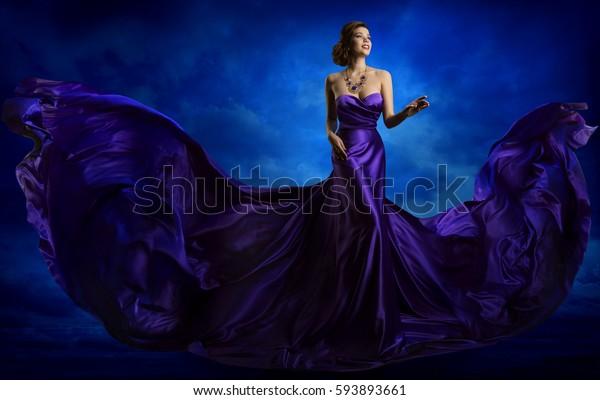 Woman Fashion Dress, Blue Art Gown Flying Silk Fabric, Elegant Model in Waving Purple Cloth