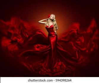 Woman Fashion Dress, Red Art Gown Flying Silk Fabric, Elegant Girl in Fashions Waving Cloth