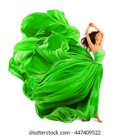 Woman Fashion Dress, Silk Fabric Cloth Fly and Wave over White