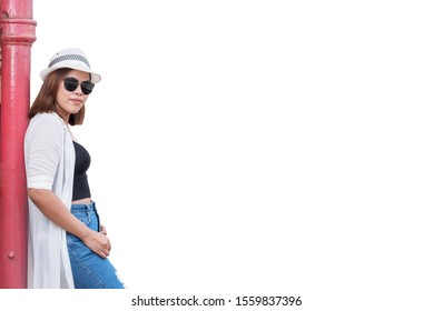 Woman, fashion, hat, glasses, tourist Asiatic that separates from the background