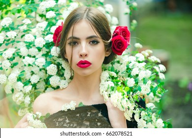 Young Beautiful Woman With Stylish Makeup And Red Flower In