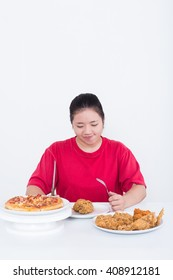 Woman with fast food - High calories food concept