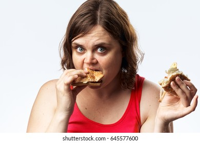 Woman fat, fatty food, young woman eating fatty food