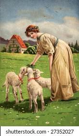 Woman feeding lambs on Easter - A Victorian illustration, circa 1913