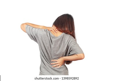 Woman feeling back pain, massaging tense muscles,Aches and   pains concept.