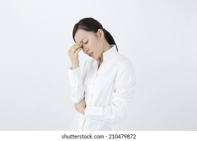 The woman feeling the fatigue