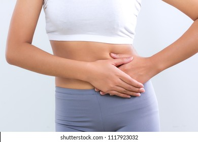 woman feeling problems intestine with food poison