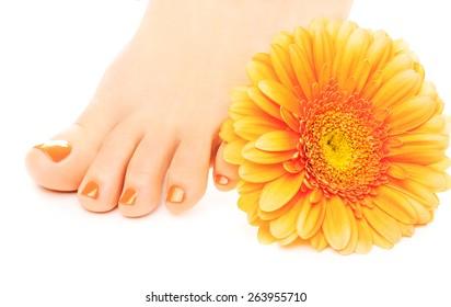 Woman feet with beautiful orange manicured nails