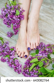 Woman feet with dark purple pedicure and beautiful fresh lilac flowers, beauty treatment