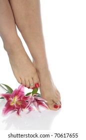 Woman  feet and flowers  over white background